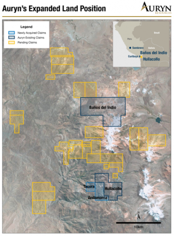 Auryn Resources acquires Tacora and Andamarca projects from Corisur  (09-08-2017)