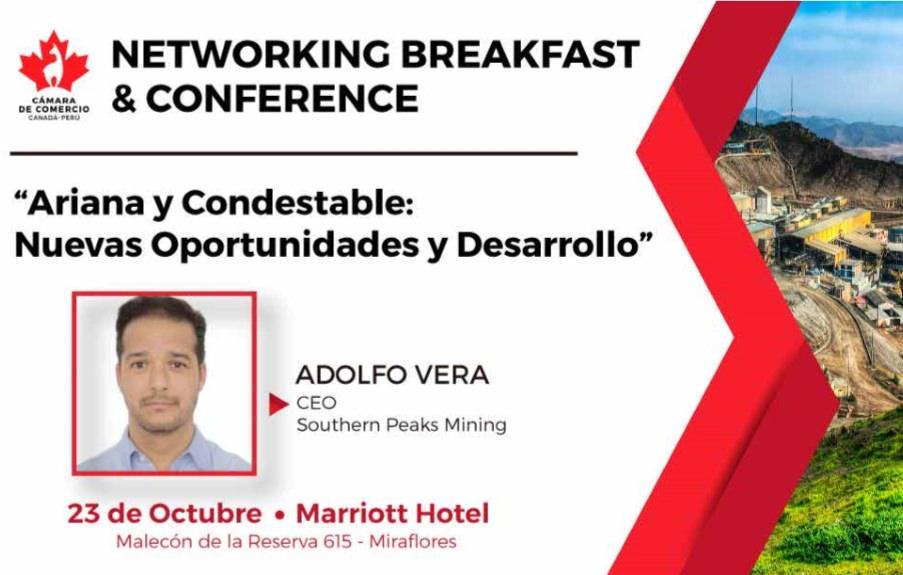 Networking Breakfast y Conference a cargo del Sr. Adolfo Vera, CEO de Southern Peaks Mining